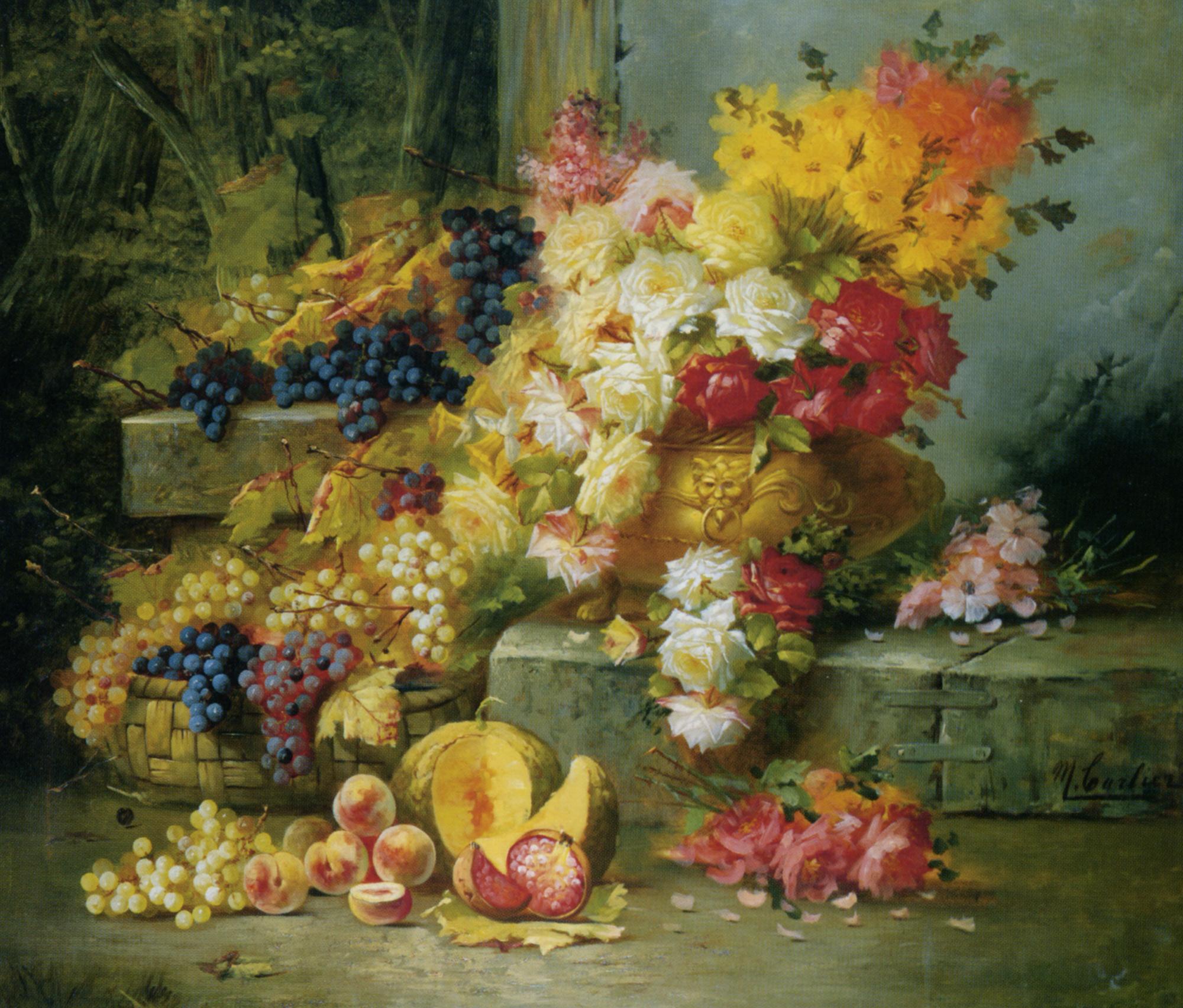 Still Life with Grapes :: Modeste Carlier - Still-lives with fruit ôîòî
