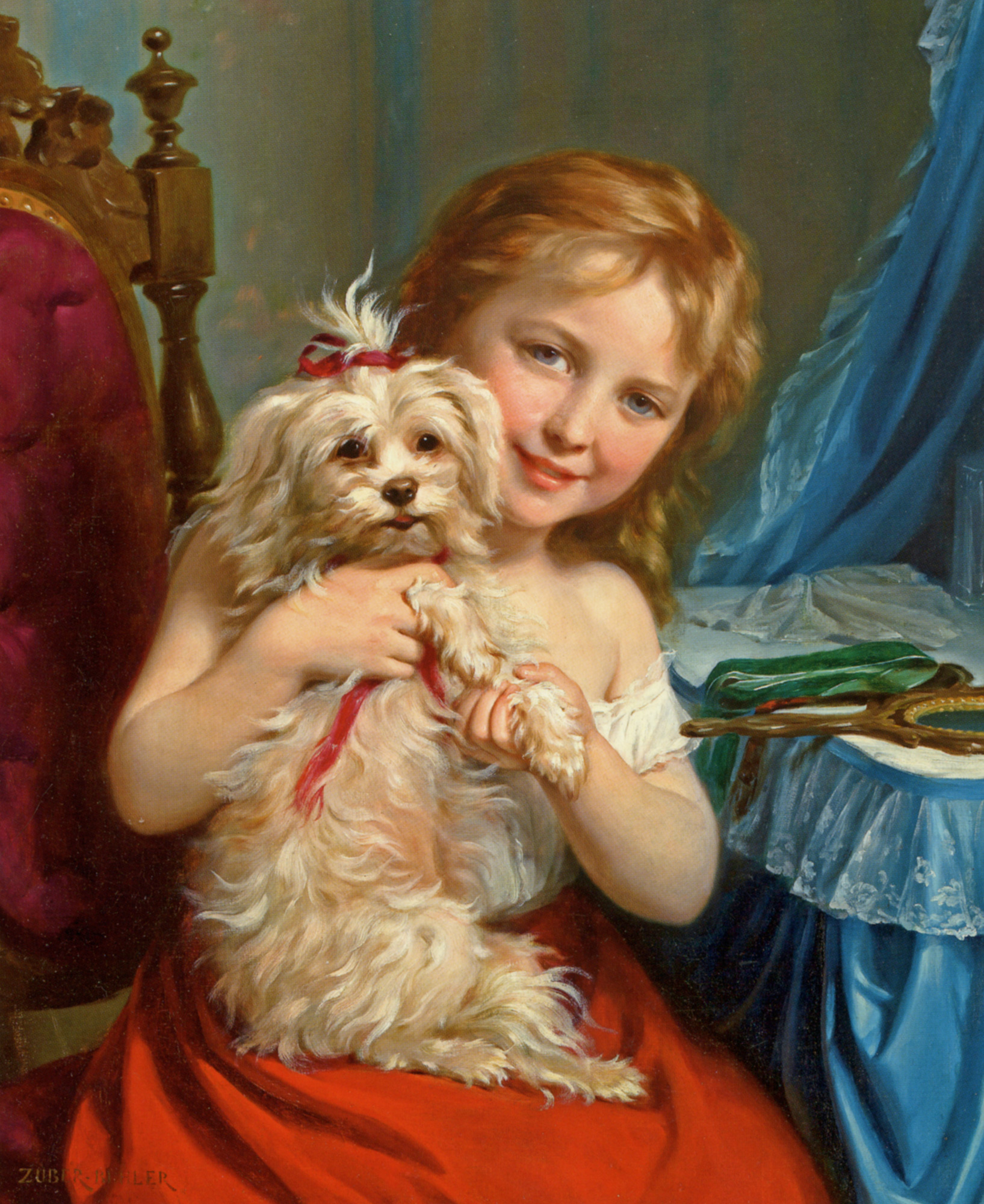 Young Girl with Bichon Frise :: Fritz Zuber-Buhler - Portraits of young girls in art and painting ôîòî