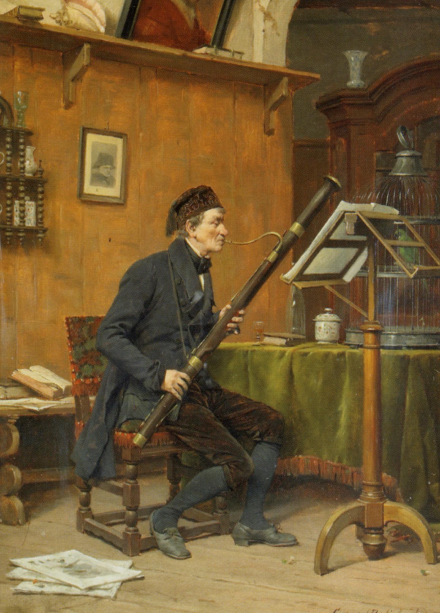 The Bassoon Player :: Gerard Portielje - Interiors in art and painting ôîòî