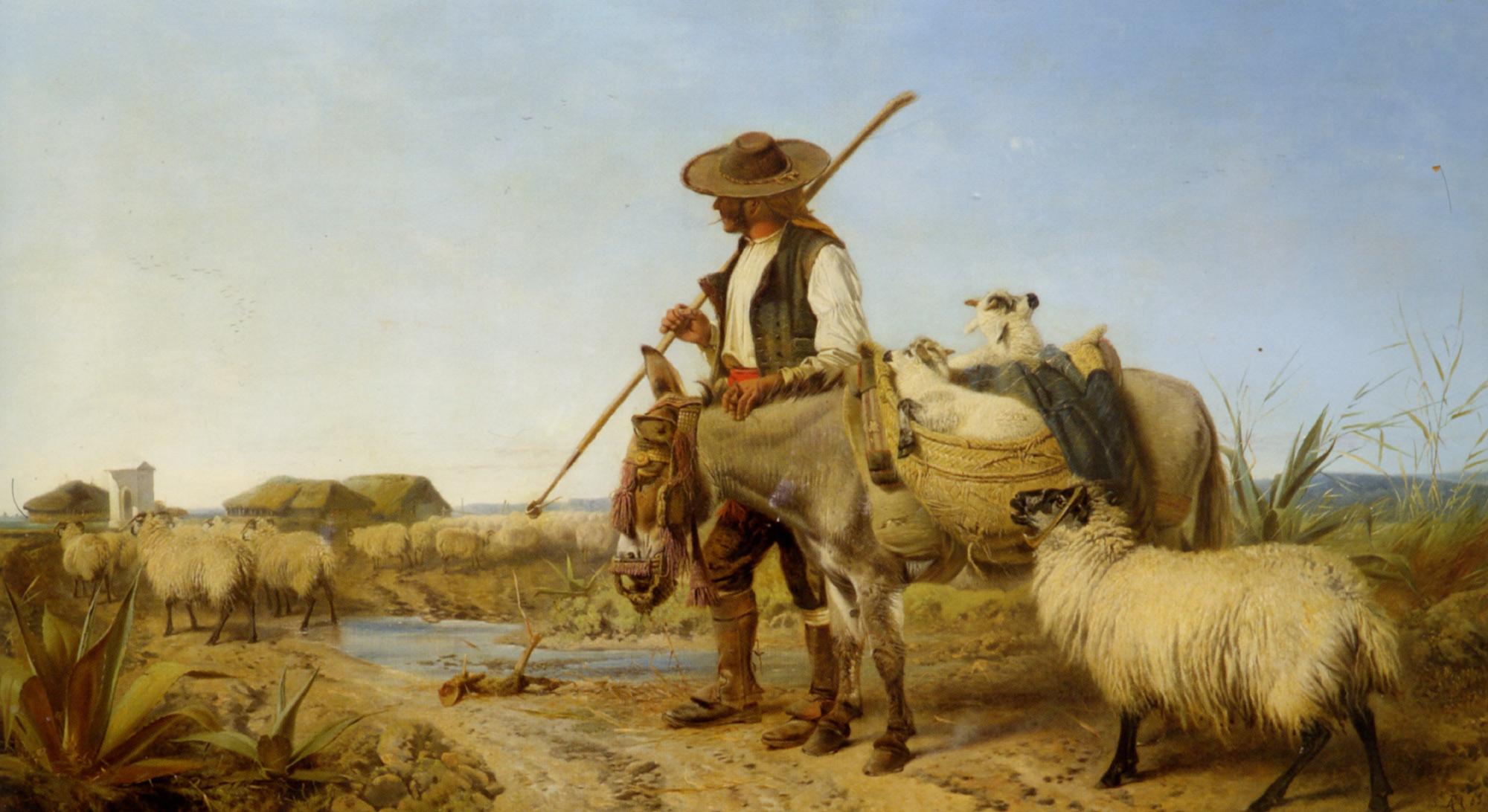 A Spanish Shepherd :: Richard Ansdell - Village life ôîòî