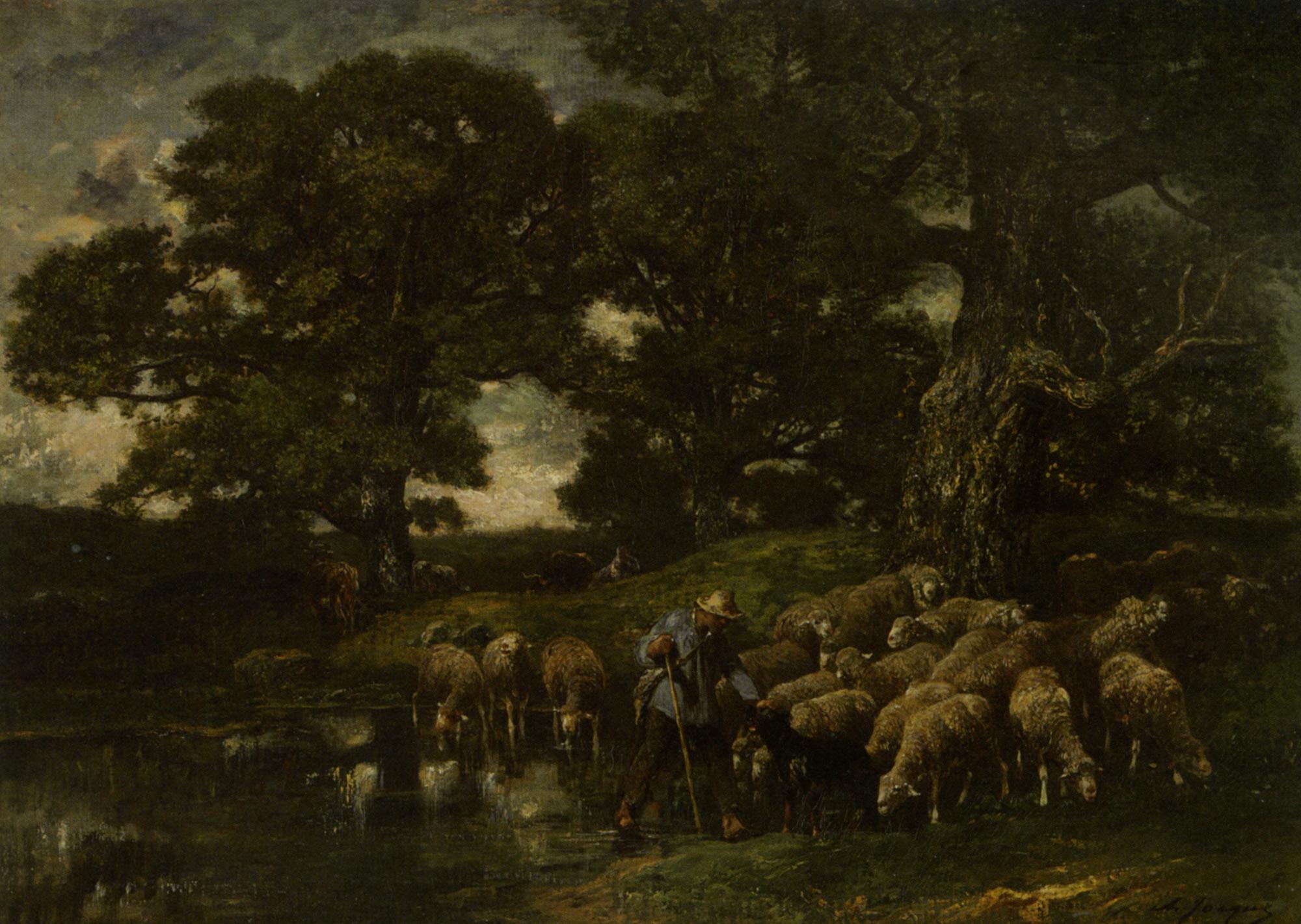 A Shepherd and his Flock by a Pond :: Charles Emile Jacque - Village life ôîòî
