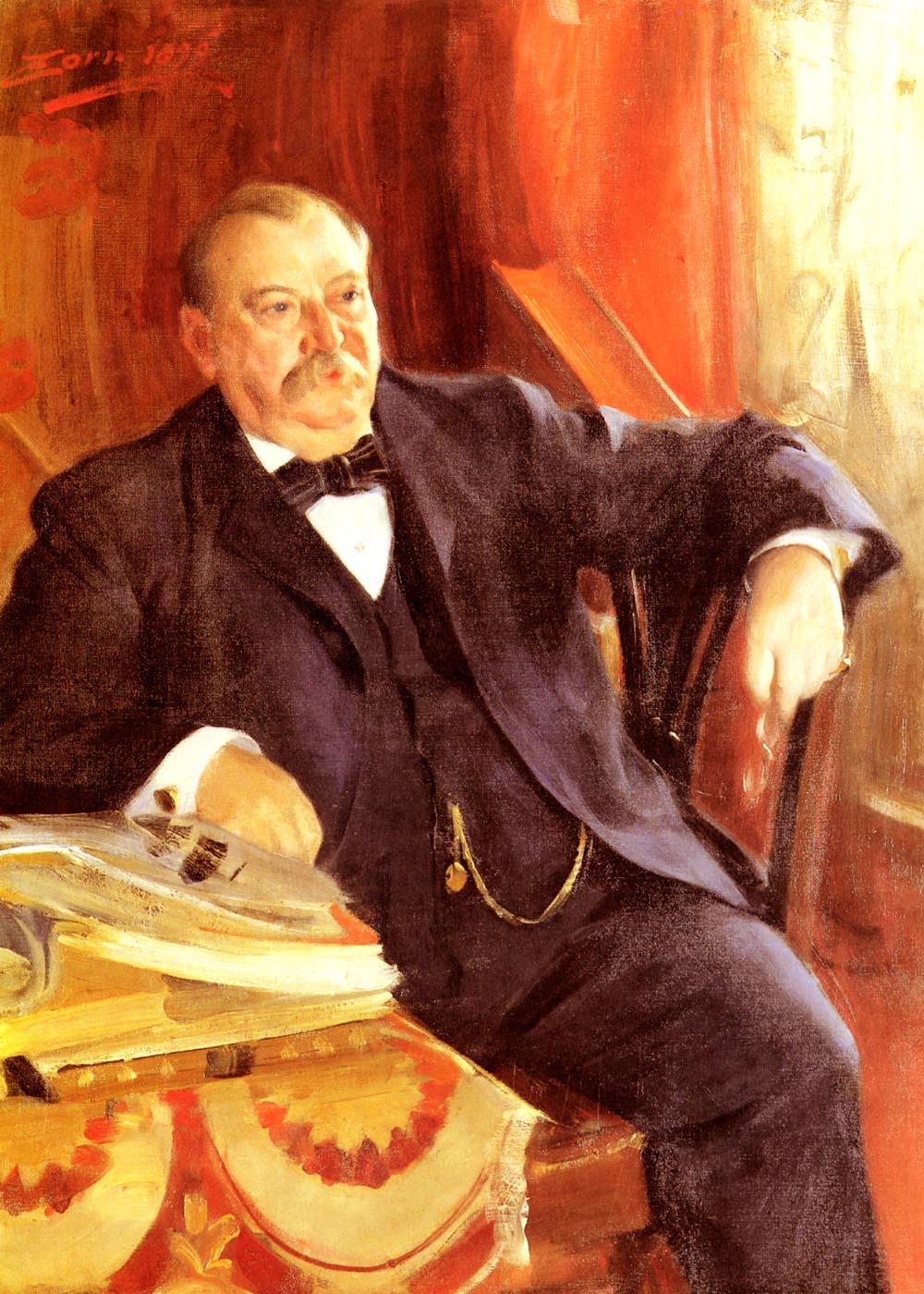 President Grover Cleveland :: Anders Zorn  - men's portraits 19th century (second half) ôîòî