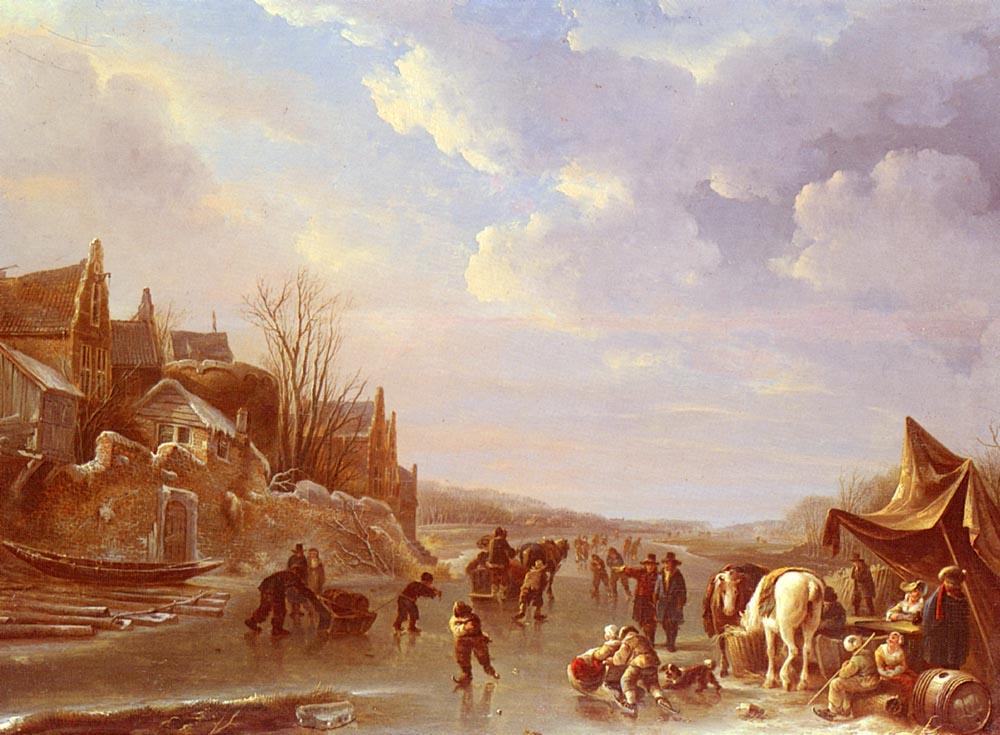 A Winter Scene In Holland :: Andries Vermeulen - Holland and Dutch ôîòî