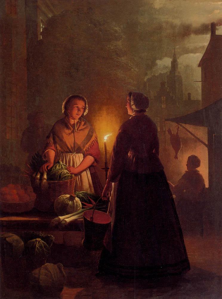 The Vegetable Market At Night :: Andries Vermeulen  - Street and market genre scenes ôîòî
