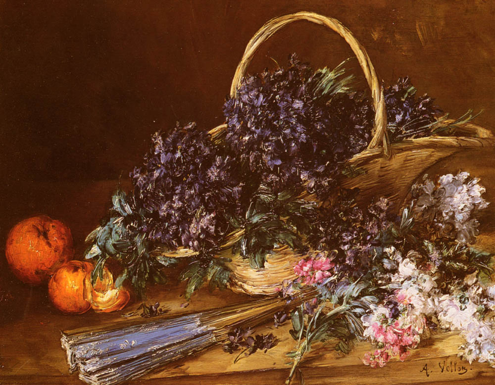 A Still Life with a Basket of Flowers, Oranges and a Fan on a Table :: Antoine Vollon - Still Lifes ôîòî