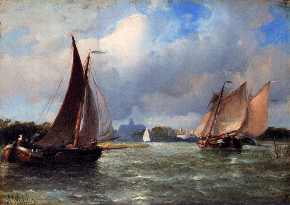 Bomschuiten Heading For Shore :: Antonie Waldorp - Sea landscapes with boats ôîòî