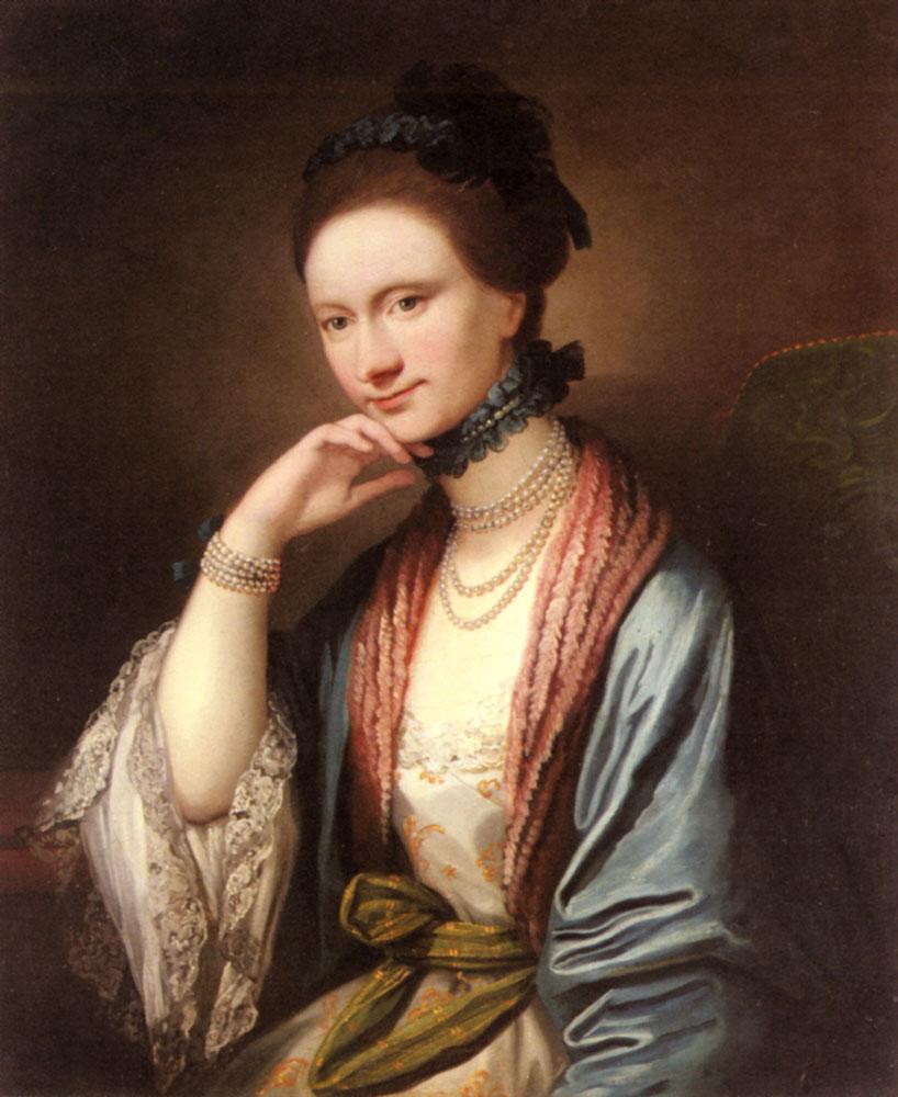 Portrait of Ann Barbara Hill Medlycott (1720-1800) :: Benjamin West - 4 women's portraits 18th century hall ôîòî