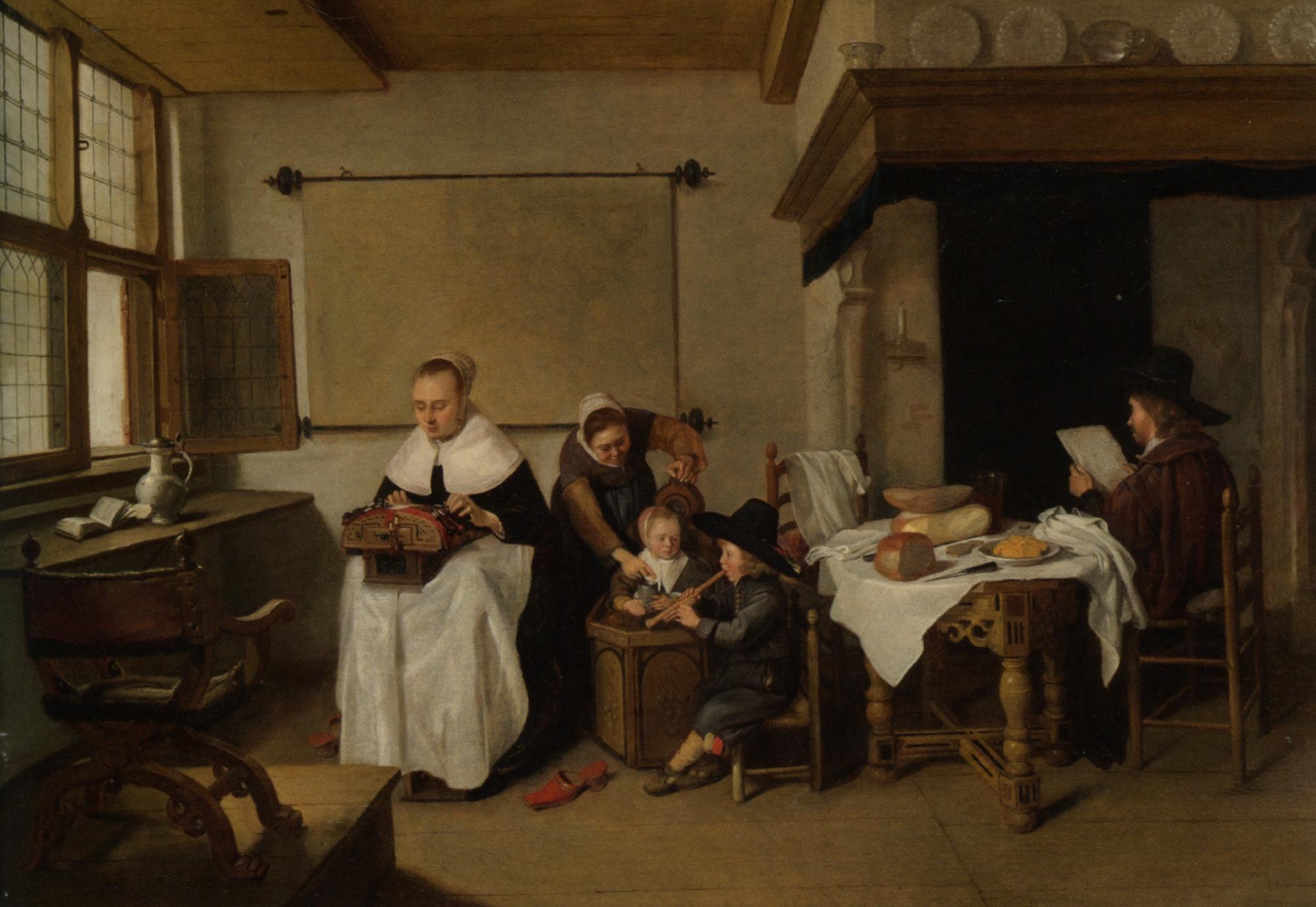 van Brekelenkam A Domestic Interior with a Family :: Quiringh Gerritsz - Interiors in art and painting ôîòî
