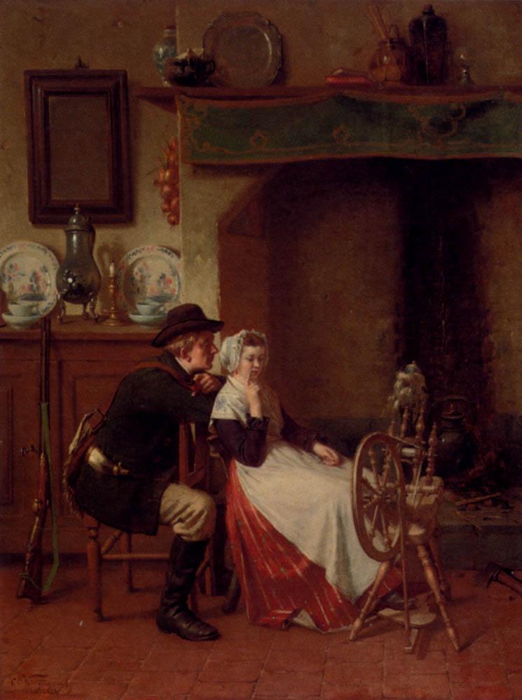 Spinning A Yarn :: Ch. Van Wyngaert - Romantic scenes in art and painting ôîòî