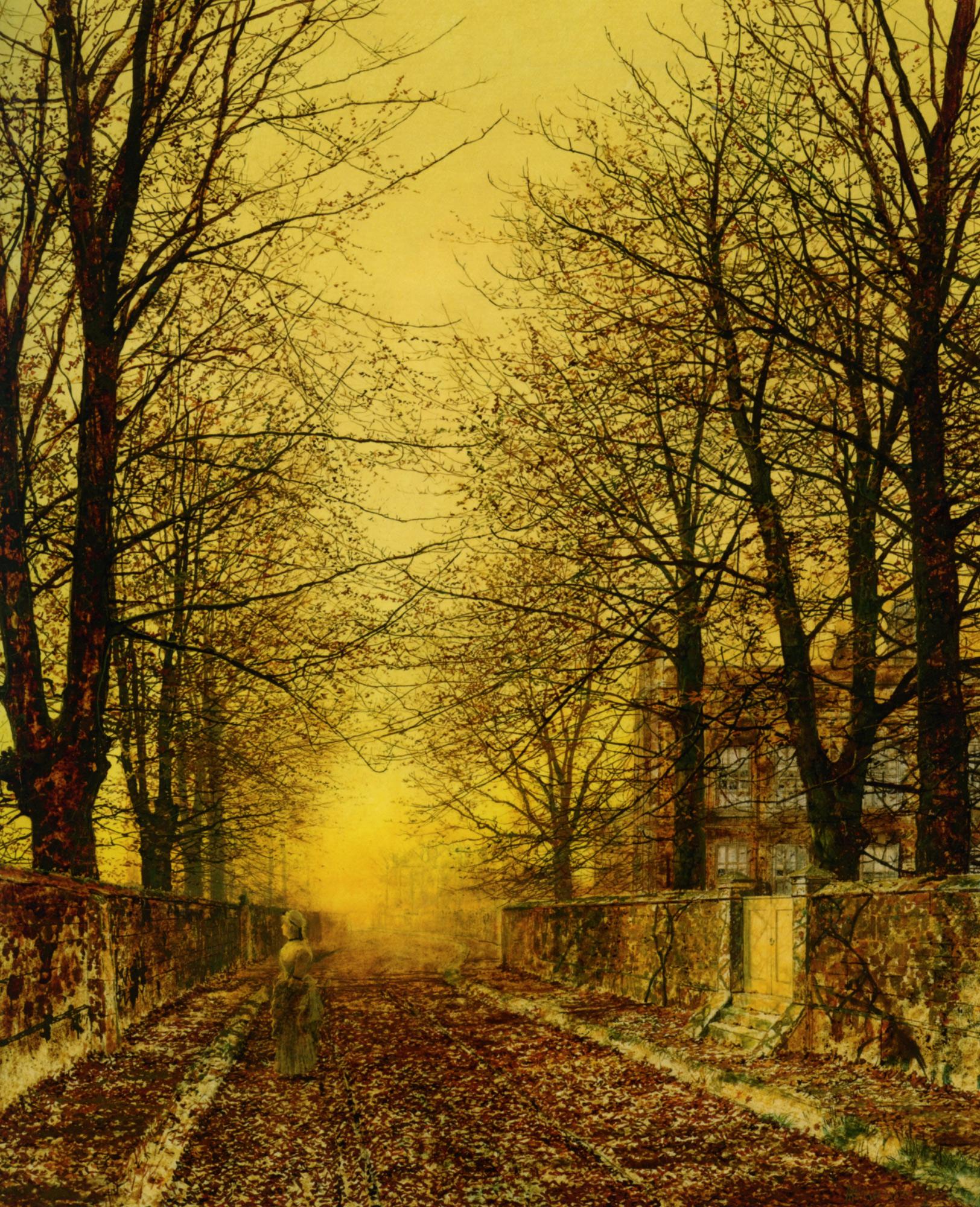 A Golden Country Road :: John Atkinson Grimshaw  - Sunset and sunrise, sundown ôîòî