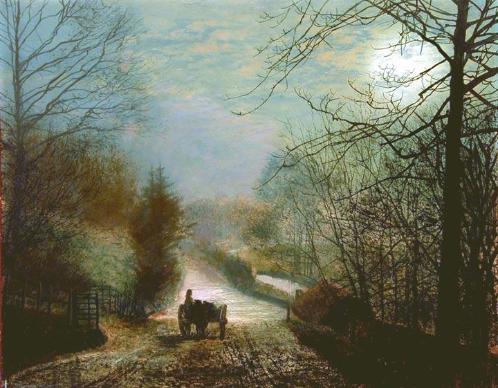 Forge Valley, Near Scarborough :: John Atkinson Grimshaw  - Night landscapes ôîòî