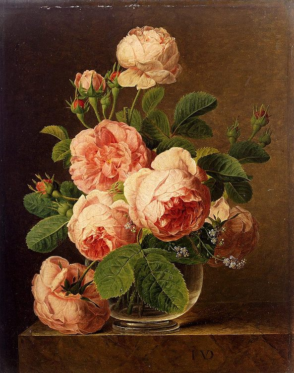 Still Life Of Roses In A Glass Vase :: Jan Frans Van Dael  - flowers in painting фото