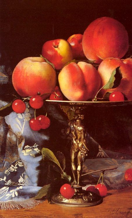 A Still Life with Peaches, Plums and Cherries :: Blaise Alexandre Desgoffe - Still-lives with fruit ôîòî