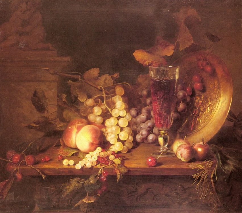 Still Life with Fruit, a Glass of Wine and a Bronze Vessel on a Ledge :: Blaise Alexandre Desgoffe - Still-lives with fruit фото