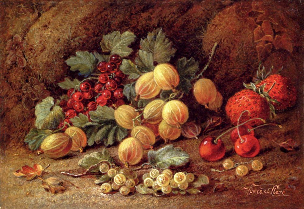 Strawberries, Cherries, Gooseberries And Red And White Currants :: Vincent Clare  - Still-lives with fruit фото
