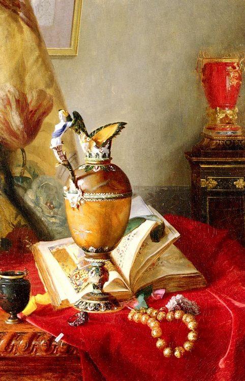 A Still Life With Urns And Illuminated Manuscript On A Draped Table : Blaise Alexandre Desgoffe - Still Lifes ôîòî