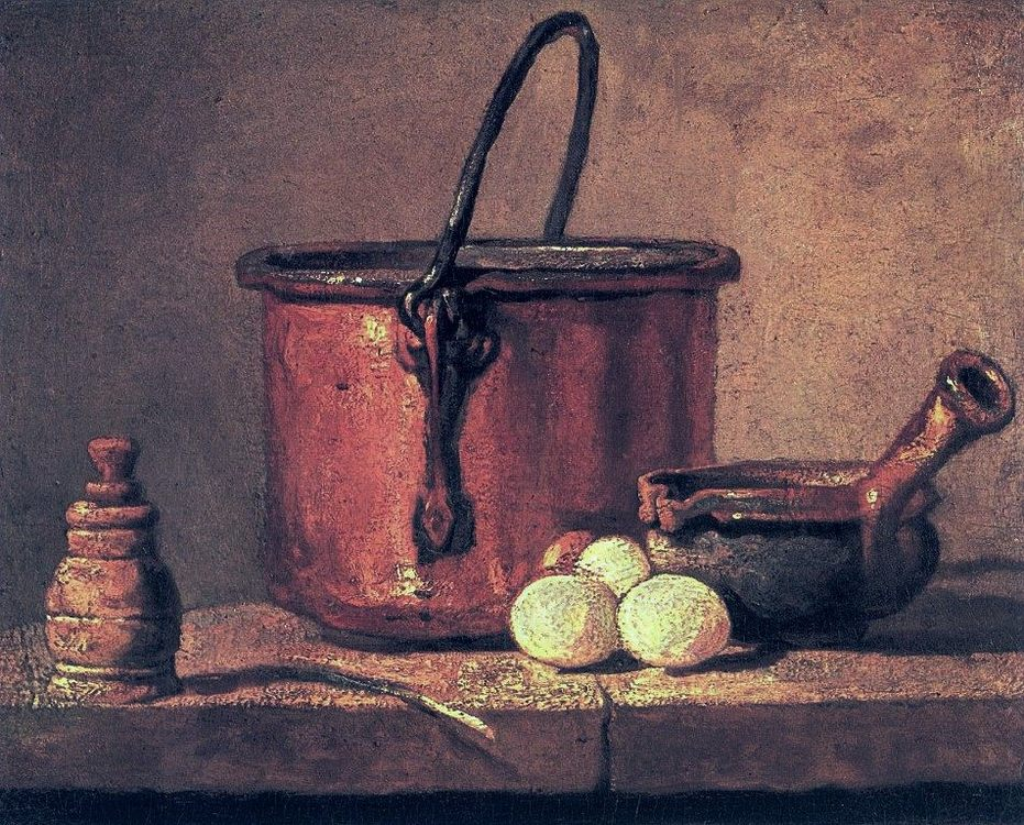 Still Life with Copper Cauldron and Eggs :: Jean-Baptiste-Simeon Chardin - Still life фото