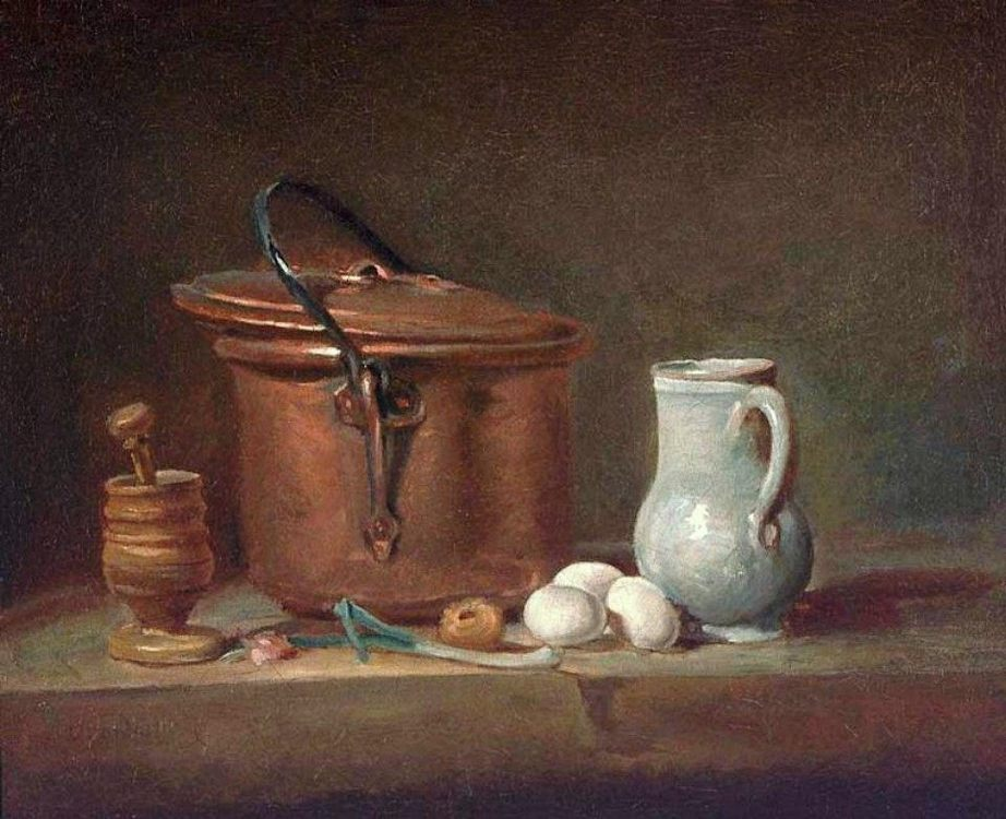 Still Life with Copper Pan and Pestle and Mortar :: Jean-Baptiste-Simeon Chardin  -  ôîòî