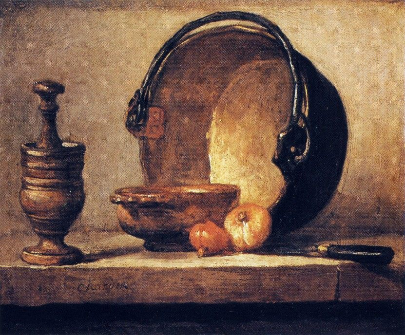Still Life with Pestle, Bowl, Copper Cauldron, Onions and a Knife :: Jean-Baptiste-Simeon Chardin - Still life фото