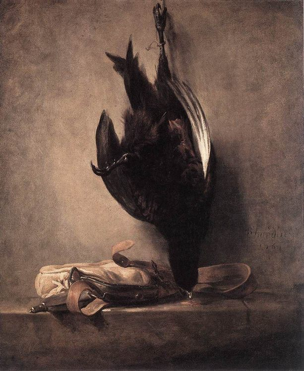 Still-Life with Dead Pheasant and Hunting Bag :: Jean-Baptiste-Simeon Chardin -  фото