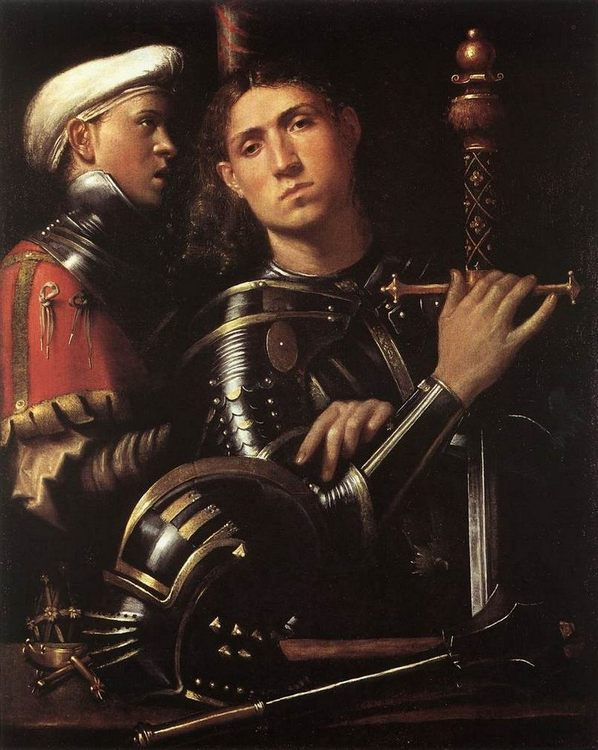 Warrior with Equerry :: Cavazzola  - men's portraits 16th century фото