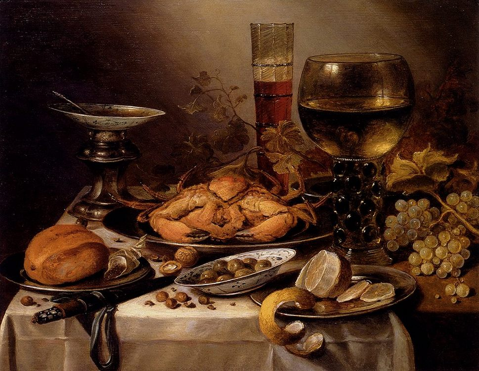 Banquet Still Life With A Crab On A Silver Platter, A Bunch Of Grapes, On A Draped Table :: Pieter Claesz - Still Lifes фото