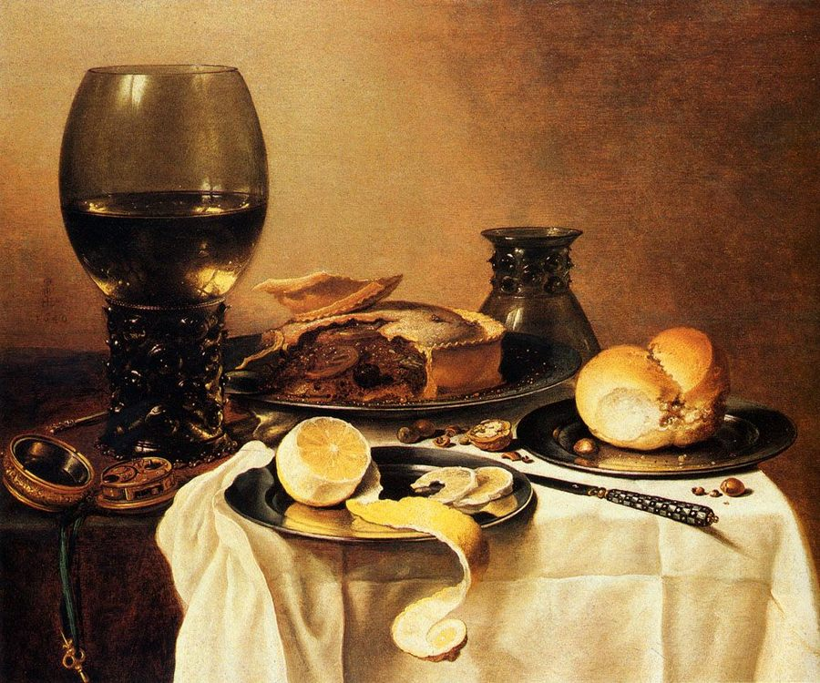 Breakfast Still Life With Roemer, Meat Pie, Lemon And Bread :: Pieter Claesz -  фото
