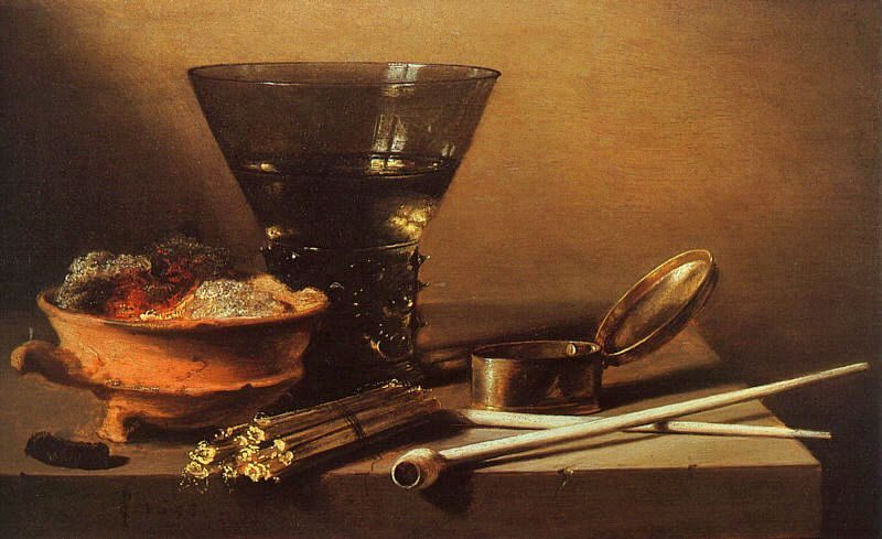 Still Life with Wine and Smoking Implements :: Pieter Claesz - Still Lifes фото