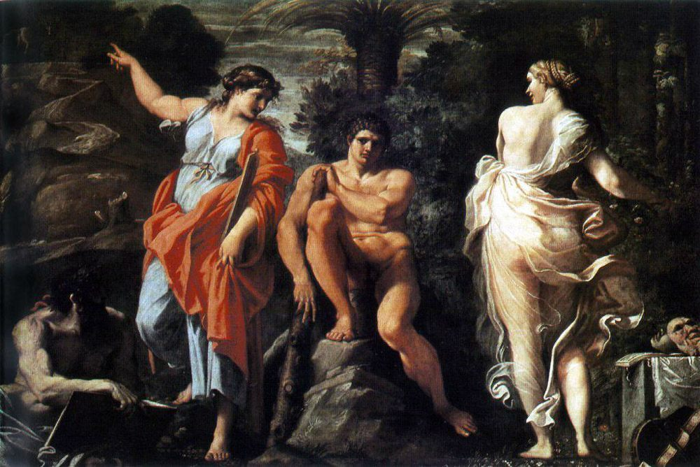 The Choice of Heracles :: Annibale Carracci - nu art in mythology painting фото