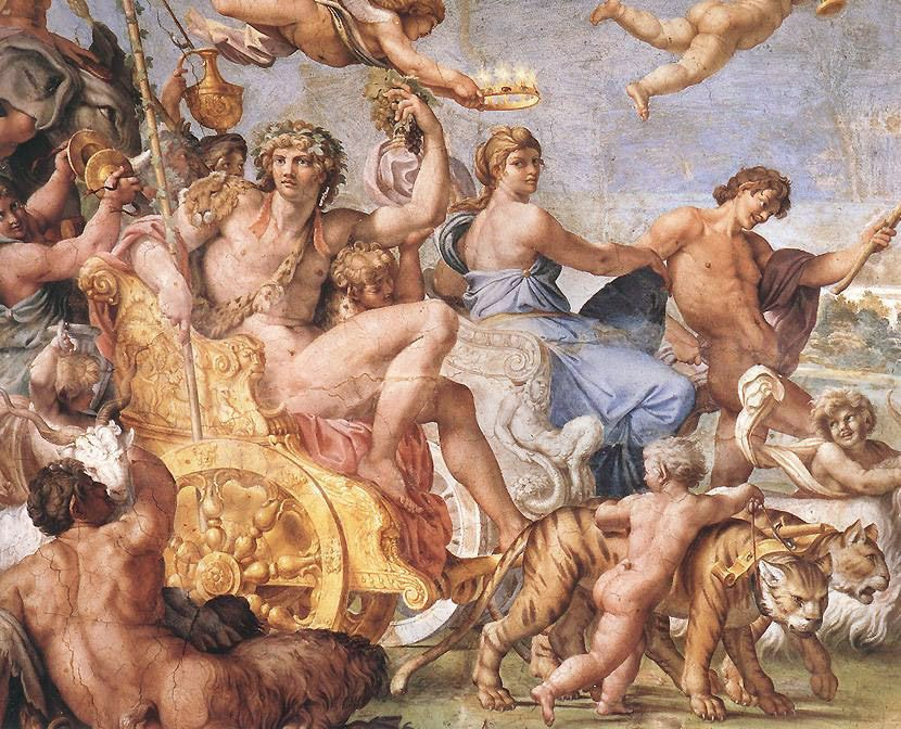 Triumph of Bacchus and Ariadne [detail- 1] :: Annibale Carracci - nu art in mythology painting фото