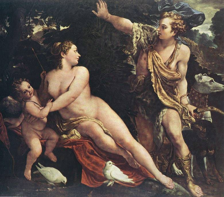 Venus and Adonis :: Annibale Carracci  - nu art in mythology painting фото