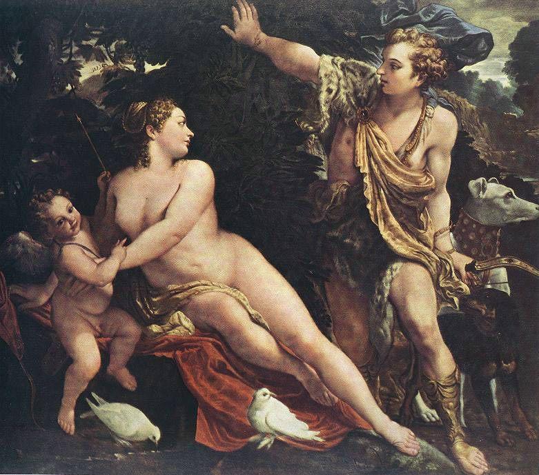 Venus and Adonis :: Annibale Carracci  - nu art in mythology painting ôîòî