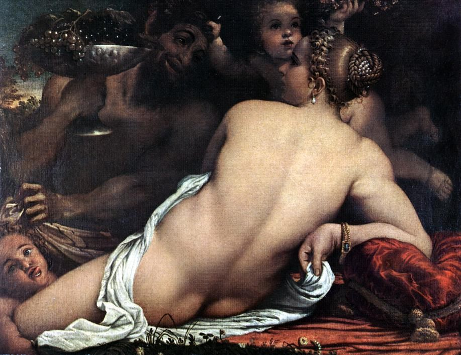 Venus with a Satyr and Cupids :: Annibale Carracci - nu art in mythology painting фото