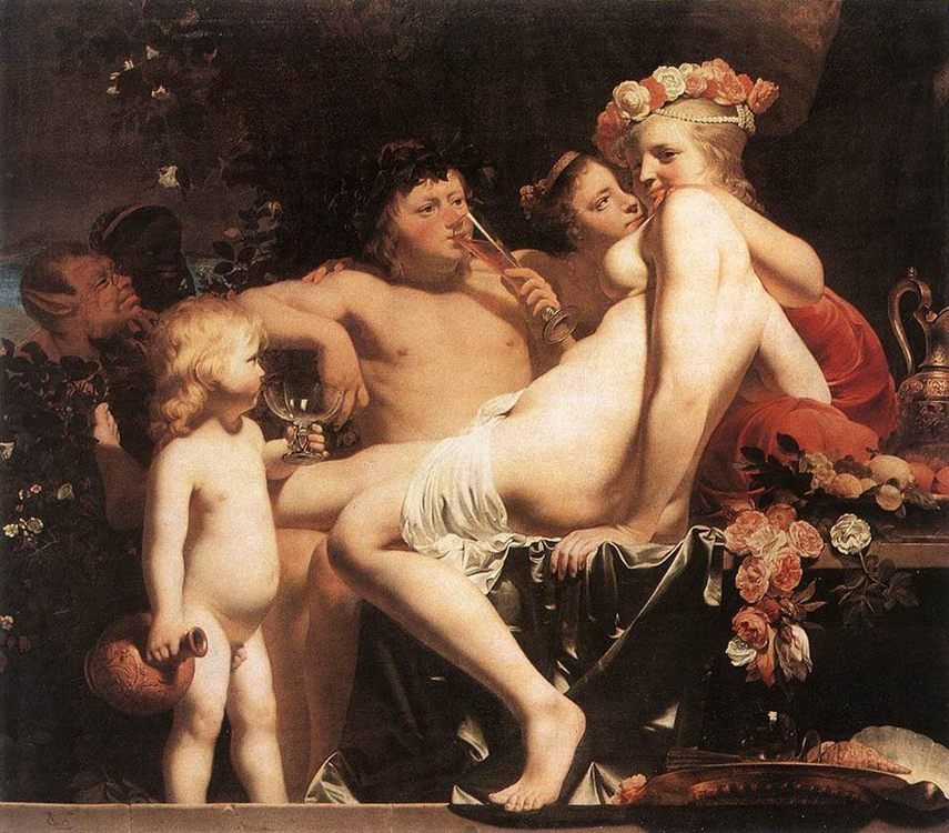 Bacchus with Two Nymphs and Cupid :: Caesar van Everdingen - nu art in mythology painting фото