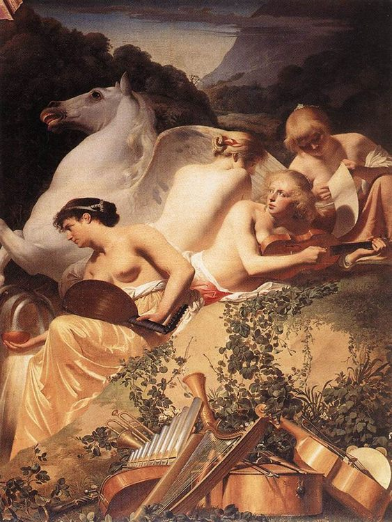 The Four Muses with Pegasus :: Caesar van Everdingen - nu art in mythology painting фото