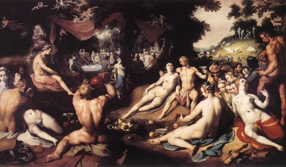 The Wedding of Peleus and Thetis ::  Cornelis Cornelisz Van Haarlem - nu art in mythology painting фото