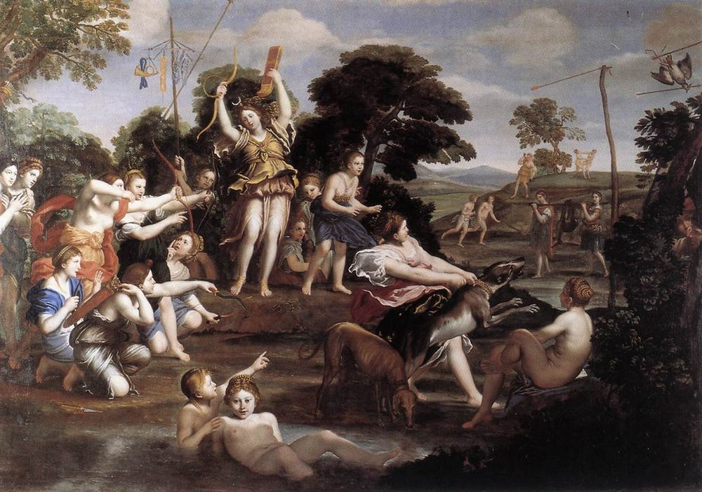 Diana and her Nymphs :: Domenichino - nu art in mythology painting фото