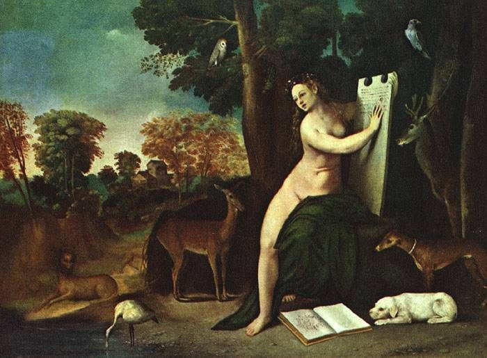 Circe and her Lovers in a Landscape :: Dosso Dossi - nu art in mythology painting фото