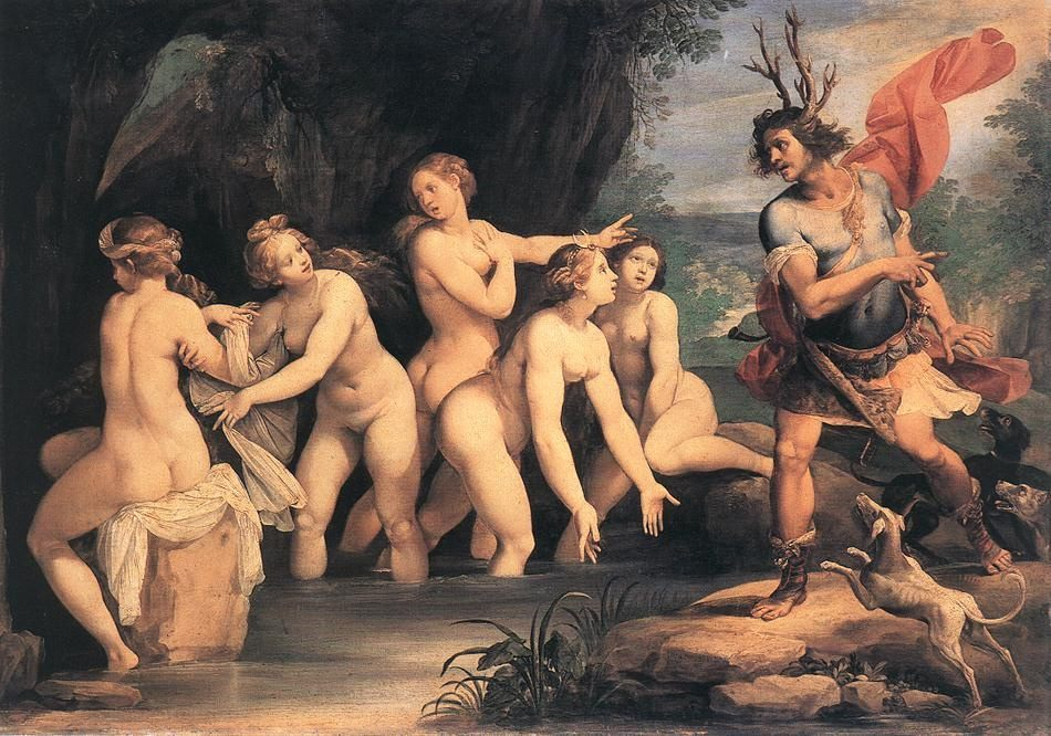 Diana and Actaeon :: Giuseppe Cesari - nu art in mythology painting фото