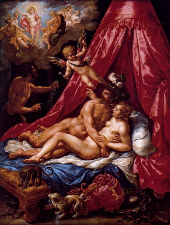 Mars And Venus Surprised By Apollo :: Hendrick De Clerck - nu art in mythology painting фото