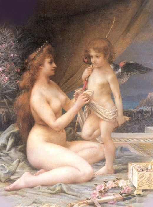 Aphrodite and Eros :: Henri Camille Danger - nu art in mythology painting фото