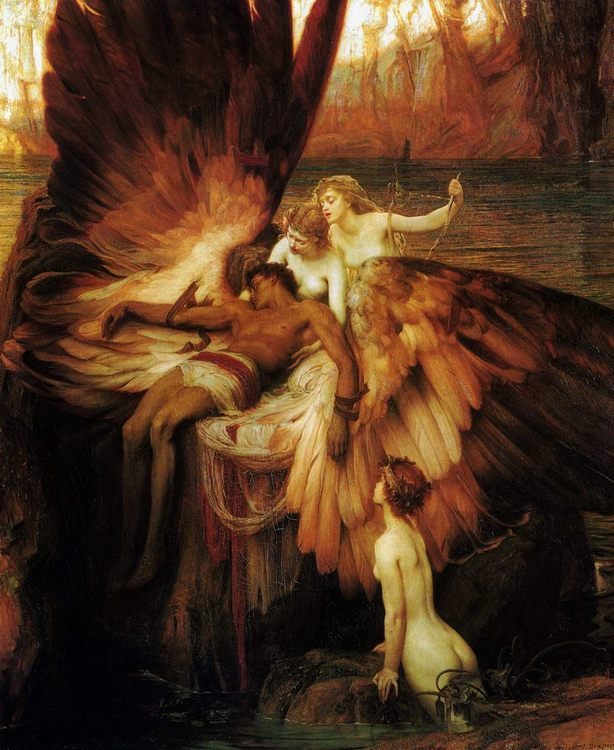Lament for Icarus :: Herbert James Draper - nu art in mythology painting фото