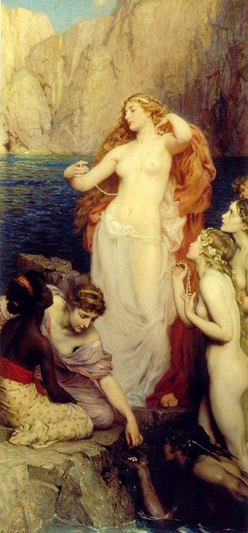 The Pearls of Aphrodite :: Herbert James Draper - nu art in mythology painting фото