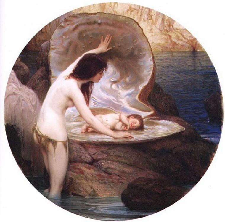 Waterbaby :: Herbert James Draper - nu art in mythology painting фото