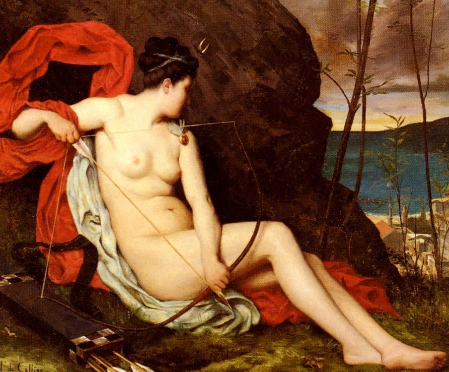 Diane La Chasseuse [Diana Of The Hunt] :: Horace de Callias - nu art in mythology painting фото