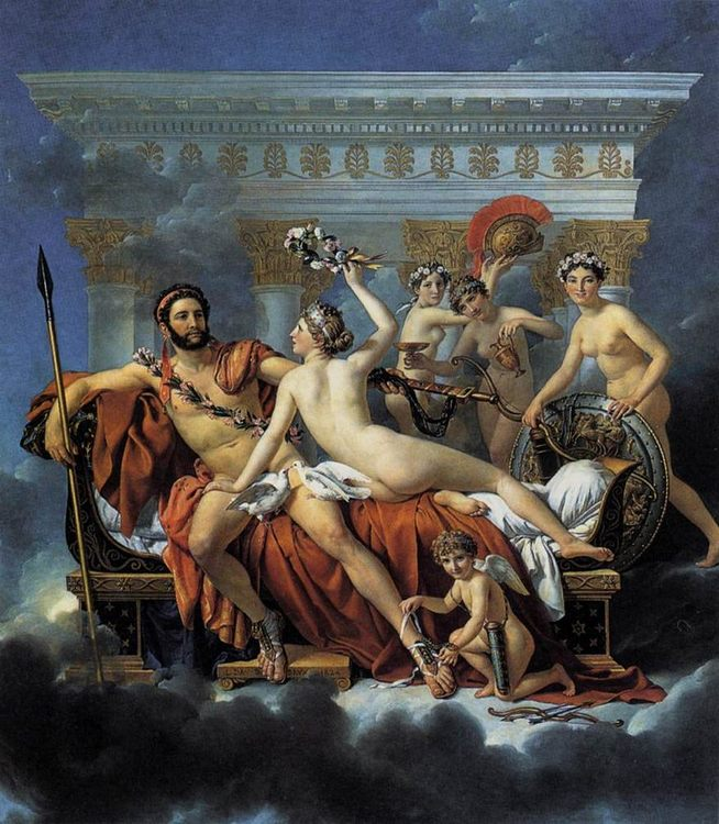 Mars Disarmed by Venus and the Three Graces :: Jacques-Louis David  - nu art in mythology painting фото