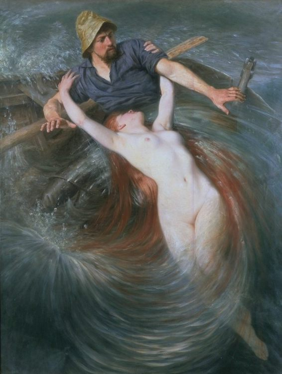 The Fisherman and the Siren :: Knut Ekvall  - nu art in mythology painting фото