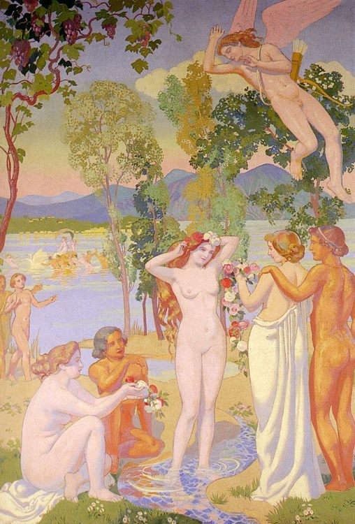 Cupid In Flight Is Struck By The Beauty Of Psyche :: Maurice Denis - nu art in mythology painting фото