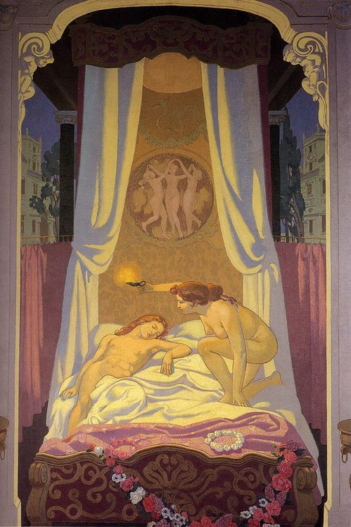 Psyche Discovers That Her Secret Lover Is Cupid :: Maurice Denis - nu art in mythology painting фото