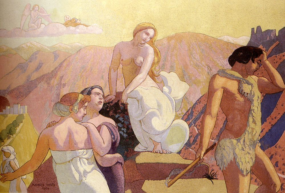 Psyche's Parents Abandon Her On The Summit Of The Mountain :: Maurice Denis - nu art in mythology painting фото
